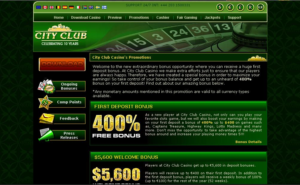 city club casino payout percentage